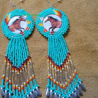 Rosette beaded Horse earrings in turquoise green