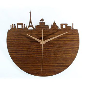 European Style Paris Silhouette 3d Wood Tone Art Wall Clock Home Decor