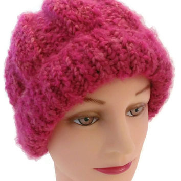 Handmade Pink Winter Hat With Subtle Hint of Gold, Pink Slouchy, Pink French Beret, Pink Snow Hat