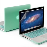 "3 in 1 Robin Egg Blue Turquoise Matte Rubber Coated Hard Case Cover for 13.3"" Inches Macbook Pro - With Robin Egg Blue Turquoise Silicon Keyboard Protector - 13 Inches Clear LCD Screen Protector"