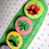 FIVE FRUITY AND VEGGIE MUSTACHE MAGNETS by Kikichoo on Etsy