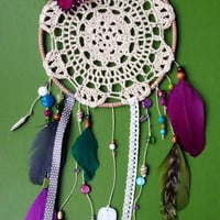 Dream Catcher - Butterfly - Modern - Doily - Beaded - Hippie - Bohemian - Boho - Fairy
