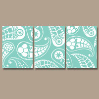 PAISLEY Wall Art Canvas Artwork Design Aqua Turquoise White Set of 3 Prints Decor Bedroom Bedding Bathroom Three Shower Curtain Main