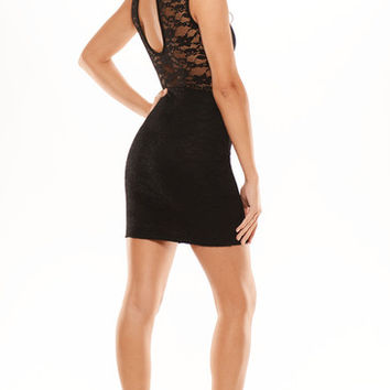 Lacey Mock Neck Dress - Black | Fashion Nova