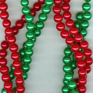 8mm Christmas Red and Green Glass Pearl Round Beads Set of 2 Strands