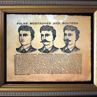 False Mustaches and Goatees Advertisement Ad Moustache Beard Art Print- Vintage Art Print on Tea Stained Paper