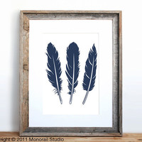 Three Feathers Poster Small Screenprint Choose your by Monorail
