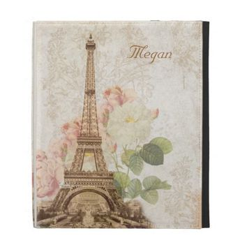 Paris Pink Rose Vintage Personalized iPad Case