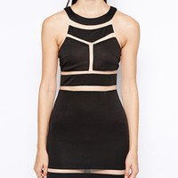 Club L Bodycon Dress with Mesh Cut-Outs