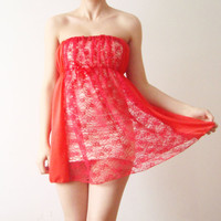 Sheer Red Lace Strapless women camisole dress by WhimsyTime