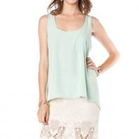Pocket Front Tank in Mint - ShopSosie.com