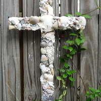 Large Seashell Cross by MyHoneypickles on Etsy