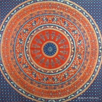 BLUE INDIAN MANDALA TAPESTRY WALL HANGING BED COVER HOME WALL DECORATIVE ART - RoyalFurnish.com