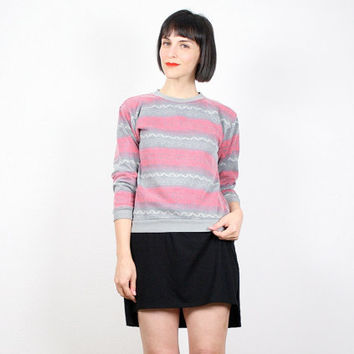 Vintage 80s Sweatshirt Red Gray Sweater Striped Jumper Slouch Slouchy Tiny Fit New Wave Faded Worn T Shirt Pullover Mod XS S Extra Small