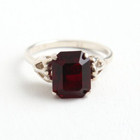Vintage Sterling Silver Simulated Garnet Ring - Retro Hallmarked Sarah Coventry Adjustable January Red Glass Stone Birthstone Jewelry