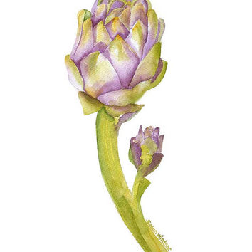 Artichoke Watercolor Painting - 11 x 14 - Giclee Print - Botanical Art