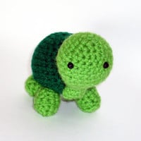 Turtle Stuffed Animal Crochet Amigurumi Green by HookAndStitches