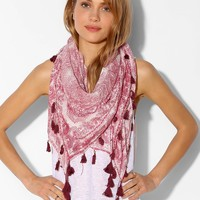 Paisley-Square Scarf- Red Multi One