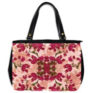Retro Vintage Floral Motif Oversize Office Handbag (Two Sides)