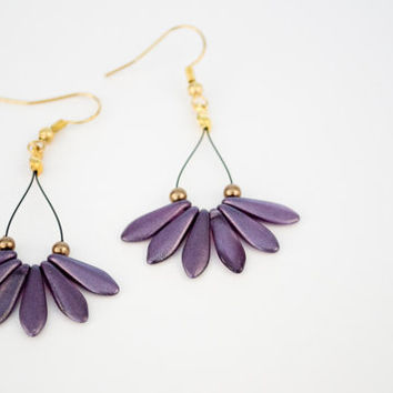 Purple Daggers Pendant Earrings