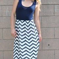 Chevron Maxi Dress - Navy
