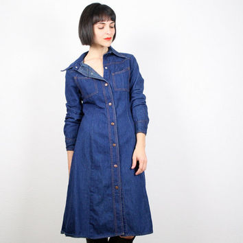 Vintage Denim Dress 1970s 70s Dress Blue Jean Dress Jean Jumper Chambray Shirt Dress Shirtdress Hippie Dress Midi Dress M Medium L Large