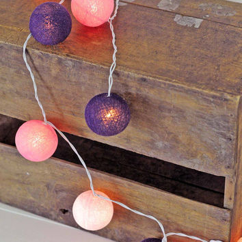 20 x vintage style pink purple cotton ball light lantern hanging living room bedroom light soft mix…