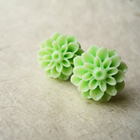 Mint Cucumber Green Chrysanthemum Earrings by PiggleAndPop