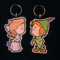 Wendy/Peter Pan His&Hers Keychains by DisforDarren on Etsy