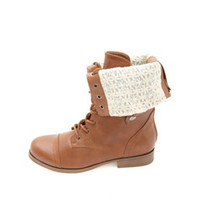 Lace-Lined Fold-Over Combat Boots by Charlotte Russe - Cognac