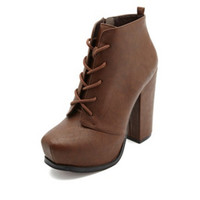 CHUNKY-HEELED PLATFORM LACE-UP BOOTIES