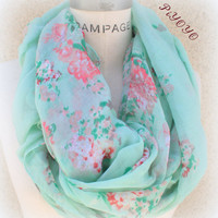 Mint Scarf Summer Lightweight Scarf Mint Green Flower Women Scarves - By PiYOYO