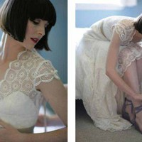 Vintage Inspired Guipure Lace Wedding Dress by atelierTAMI on Etsy