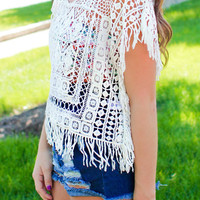 Beach Bum Poncho - ONE SIZE FITS MOST / WHITE
