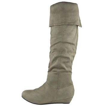 Womens Casual Comfort Cuffed Knee High Flat Boots Taupe Size 5.5-10