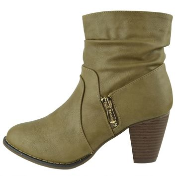 Womens Ruched Ankle Boots Zipper Accent High Heel Booties Beige Size 5.5-10