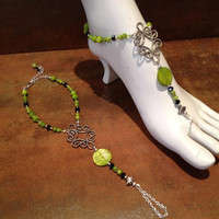 Lime Green Mother of Pearl Barefoot Sandals by Bodynovelties