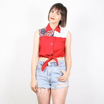 Vintage Red White Blue Shirt American Flag Tank Top Tie Waist Shirt Crop Top Stars And Stripes Sleeveless Cowgirl Western Shirt Top S Small
