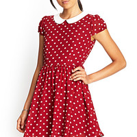 FOREVER 21 Polka Dot Fit & Flare Dress Burgundy/Cream
