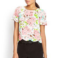 Textured Floral Boxy Top