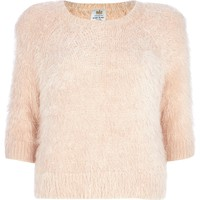 Light pink fluffy 3/4 sleeve jumper
