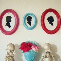 Trio Upcycled Vintage Oval Frames Colorful by shabbyvintagemom