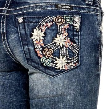 Miss Me Flower Power Boot Cut Jeans