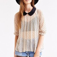 Cooperative Polka Dot Mesh Top - Urban Outfitters