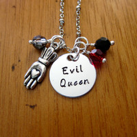 """Once Upon A time Inspired Necklace. """"Evil Queen"""" Villain. Wicked Queen. Disney's """"Snow White"""". Silver colored. Swarovski crystal."""