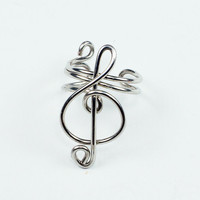 Small Silver Treble Clef Ear Cuff | Luulla