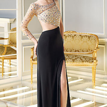 One Sleeve Floor Length Dress