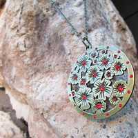 Flower Medallion Necklace, Floral Pendant, Antique Gold, Ruby Red Rhinestones, Summer Fashion, Oriental Inspired Jewelry