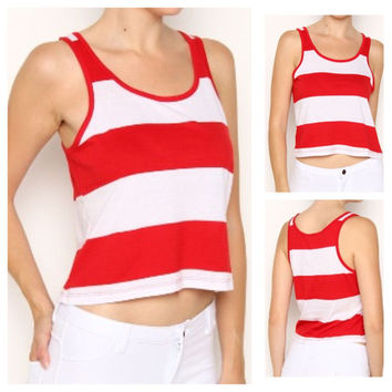 In Style Red/White Crop tank