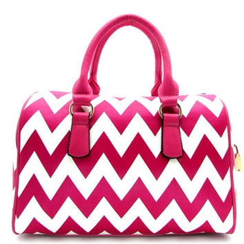 Thick Faux Leather Fucshia/White Chevron Purse